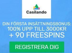 Hämta upp till 3000 kr bonus och 90 free spins på Casilando!