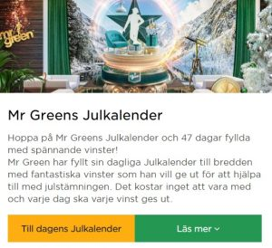 Mr Green Julkalender börjar nu!