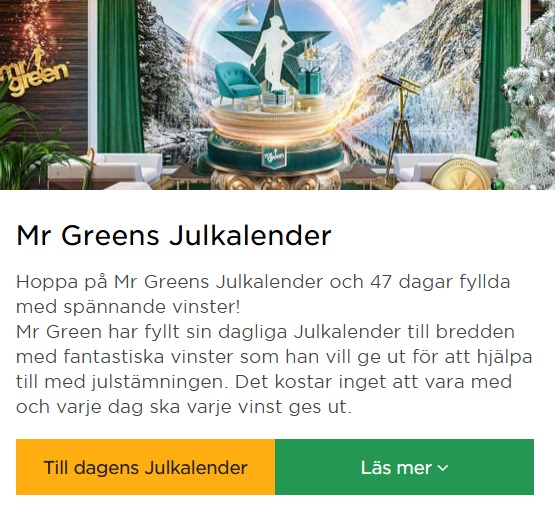 Mr Green Julkalender börjar nu!