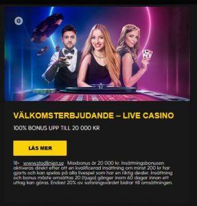 Missa inte live casino bonus hos Bethard!